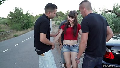 Brunette teen slut Luna Rival gangbanged and creampied outdoor