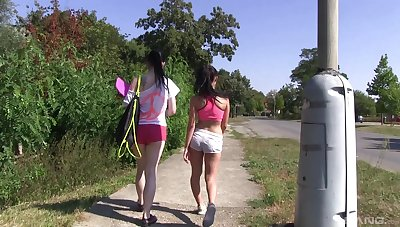 Outdoor lesbian hiking with two horny naked teen babes