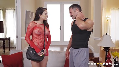 Teen slut in a fishnet suit Ashly Anderson swallows every drop of cum