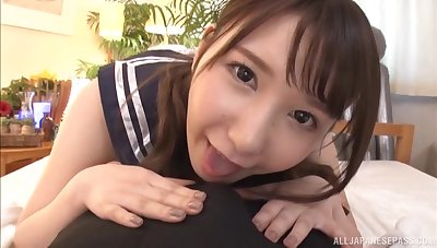 Japanese teen babe Hoshisaki Reimi sucks and rides in a uniform
