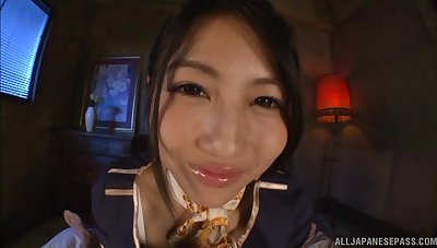 Japanese teen in uniform Saionji Reo makes a cock cum with her feet