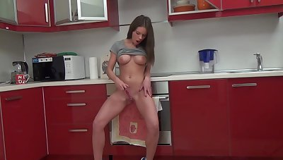 Gorgeous beauty plays with her pussy in amazing modes