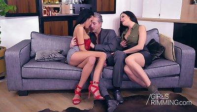 Two poor babes give a rimjob and blowjob to one handsome boyfriend