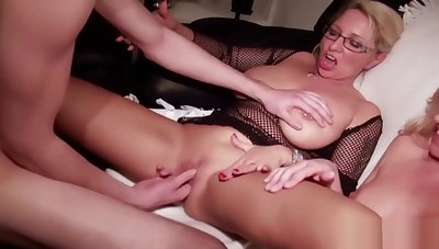 German Mom and Aunt Teach Virgin Step-Son how To Fuck