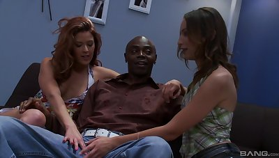Black dude got surprised with a triple by Trisha Rey and Amber Rayne