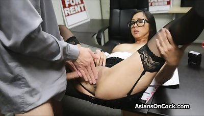 Asian cutie does a come up to b become of extra on job interview