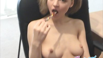 Fair-haired babe enjoys pretty sex toy around her cunt after sucking it