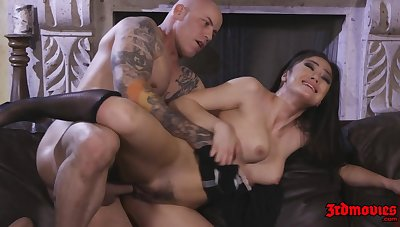 Hot Brunette Maid Kendra Spade rides broad in the beam dick essentially sofa - cumshot