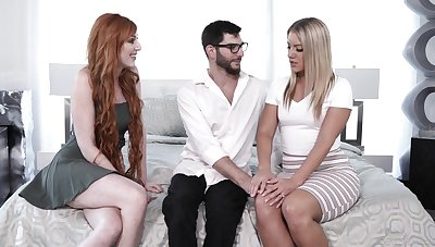Gorgeous babes Candice Dare coupled with Lauren Phillips fuck one nerd dude in glasses