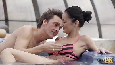 Older lover invites gentle girl on every side his house with jacuzzi