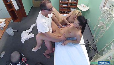 Lovely blonde's threeway shafting with her falsify and supervision look after