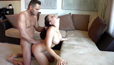 Gagged babe takes whole penis from deny hard pressed