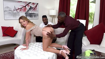 Interracial threesome with cruel cheating wife Charlotte Sins