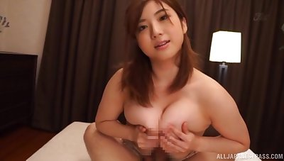 Smooth fucking on the bed with busty Japanese housewife. POV