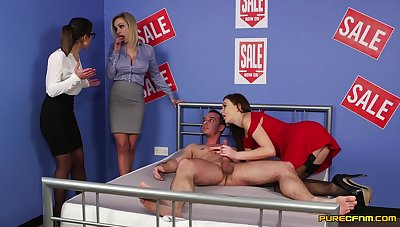 Needy babes are nearby for a spicy CFNM tryout on a big pole